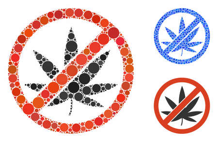 Stop cannabis mosaic of filled circles in variable sizes and color tints, based on stop cannabis icon. Vector filled circles are combined into blue mosaic.