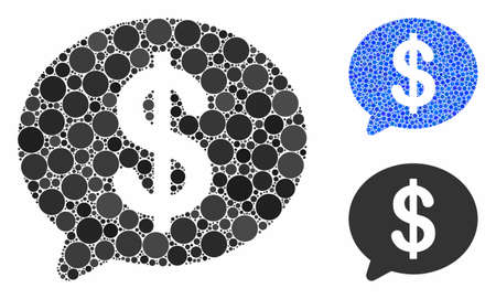 Financial message mosaic of circle elements in different sizes and color hues, based on financial message icon. Vector circle elements are united into blue collage.