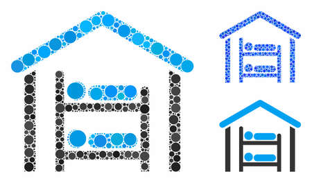 Hostel mosaic of filled circles in variable sizes and color tinges, based on hostel icon. Vector filled circles are combined into blue mosaic. Dotted hostel icon in usual and blue versions. Illustration