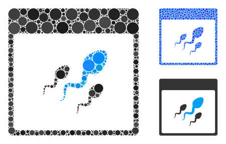 Spermatozoids calendar page mosaic of filled circles in different sizes and color tones, based on spermatozoids calendar page icon. Vector filled circles are united into blue mosaic. Illustration