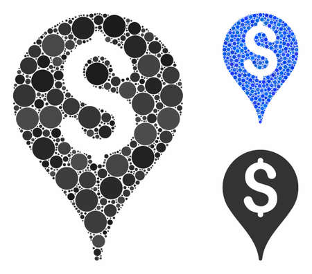 Bank map marker mosaic of round dots in variable sizes and color tints, based on bank map marker icon. Vector round dots are combined into blue mosaic.