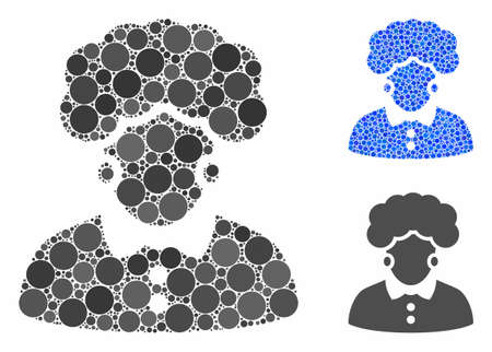 Brunette woman mosaic of small circles in variable sizes and color tinges, based on brunette woman icon. Vector filled circles are composed into blue mosaic. Archivio Fotografico - 133223775