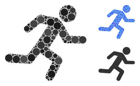 Running man mosaic of spheric dots in various sizes and color tinges, based on running man icon. Vector round dots are composed into blue mosaic. Dotted running man icon in usual and blue versions. 向量圖像