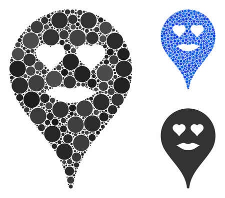 Lady love smiley map marker composition of small circles in various sizes and color tones, based on lady love smiley map marker icon. Vector small circles are composed into blue composition.