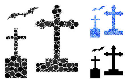 Cemetery composition of small circles in variable sizes and color tinges, based on cemetery icon. Vector small circles are organized into blue composition.
