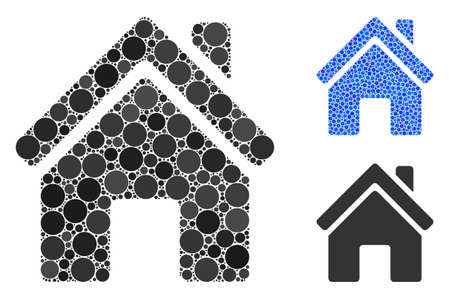 Home building mosaic of filled circles in different sizes and shades, based on home building icon. Vector filled circles are composed into blue illustration. 일러스트