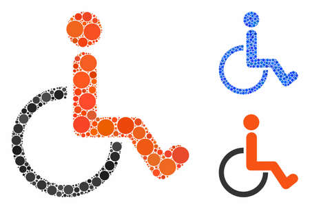 Disabled person composition of circle elements in different sizes and color tones, based on disabled person icon. Vector small circles are united into blue composition.