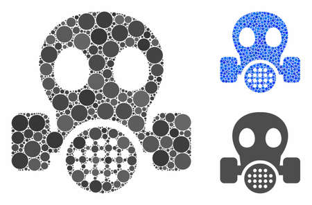 Gas mask mosaic of small circles in various sizes and color tones, based on gas mask icon. Vector small circles are combined into blue mosaic. Dotted gas mask icon in usual and blue versions. Ilustração