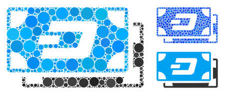 Dash banknotes mosaic of spheric dots in variable sizes and color tones, based on Dash banknotes icon. Vector dots are composed into blue collage.