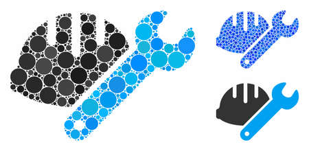 Helmet with wrench mosaic of filled circles in various sizes and color tones, based on helmet with wrench icon. Vector random circles are combined into blue mosaic.