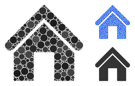 Home mosaic of circle elements in various sizes and color hues, based on home icon. Vector circle elements are united into blue illustration. Dotted home icon in usual and blue versions.
