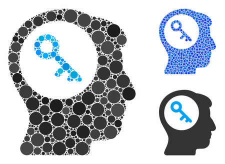 Brain key mosaic of round dots in variable sizes and color tints, based on brain key icon. Vector round elements are united into blue illustration. Dotted brain key icon in usual and blue versions.