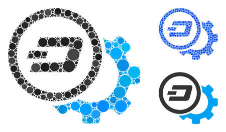Dash configuration gear composition of filled circles in variable sizes and shades, based on Dash configuration gear icon. Vector filled circles are composed into blue illustration.