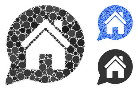 House mention composition of filled circles in various sizes and color tints, based on house mention icon. Vector filled circles are grouped into blue collage.