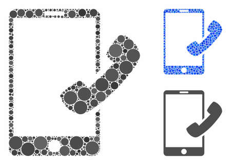 Call smartphone mosaic of small circles in various sizes and color tints, based on call smartphone icon. Vector small circles are organized into blue mosaic.