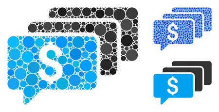Money messages mosaic of small circles in different sizes and color tints, based on money messages icon. Vector small circles are organized into blue collage.