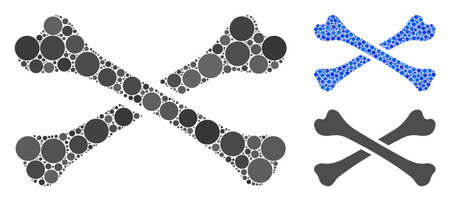 Bones composition of round dots in various sizes and color tints, based on bones icon. Vector round dots are composed into blue illustration. Dotted bones icon in usual and blue versions.