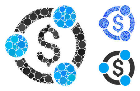 Financial collaboration mosaic of small circles in variable sizes and color tints, based on financial collaboration icon. Vector small circles are grouped into blue composition.