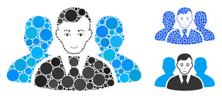 User group mosaic of small circles in variable sizes and color tones, based on user group icon. Vector random circles are combined into blue mosaic. Dotted user group icon in usual and blue versions.