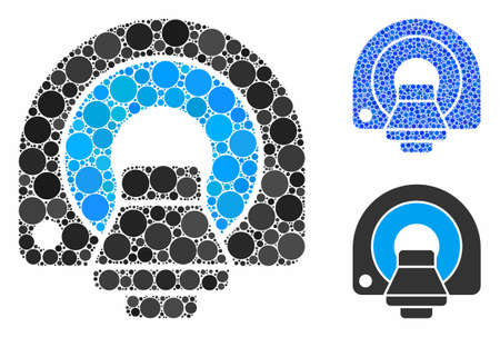 MRI equipment composition of small circles in variable sizes and color hues, based on MRI equipment icon. Vector filled circles are combined into blue composition.