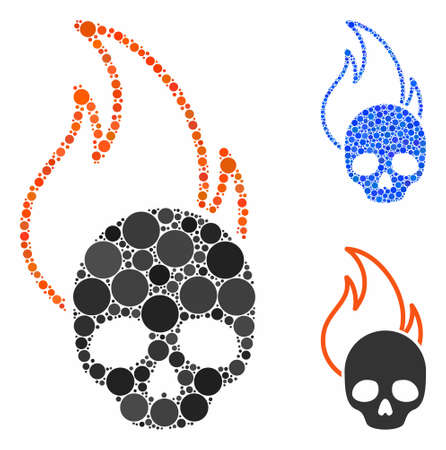Hell fire composition of round dots in different sizes and color tinges, based on hell fire icon. Vector round dots are united into blue illustration. Dotted hell fire icon in usual and blue versions. Illusztráció