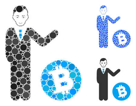 Bitcoin businessman composition of circle elements in different sizes and color hues, based on Bitcoin businessman icon. Vector round elements are grouped into blue composition.