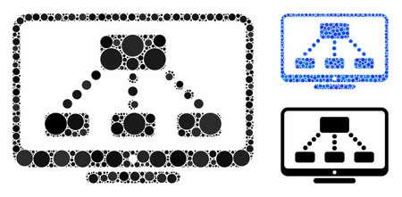 Mosaico del monitor de jerarquía de elementos circulares en tamaños variables y tintes de color, según el icono del monitor de jerarquía. Los elementos del círculo del vector se unen en mosaico azul.