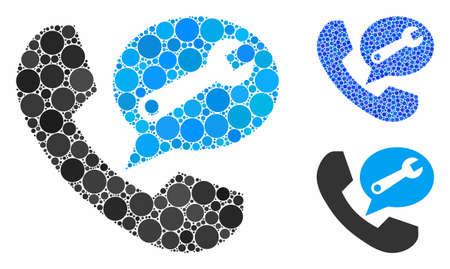 Telefondienst-Nachrichtenmosaik aus runden Punkten in verschiedenen Größen und Farbtönen, basierend auf dem Telefondienst-Nachrichtensymbol. Vektorpunkte werden in blaue Illustration komponiert.