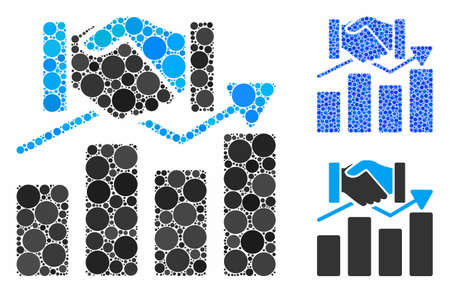 Acquisition graph composition of round dots in variable sizes and color tinges, based on acquisition graph icon. Vector round dots are composed into blue composition.