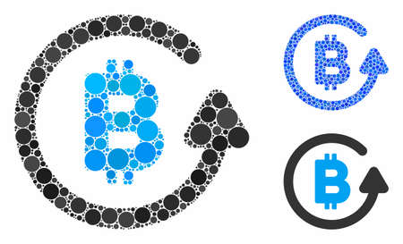 Bitcoin refund mosaic of filled circles in various sizes and color tints, based on Bitcoin refund icon. Vector filled circles are combined into blue mosaic. 일러스트