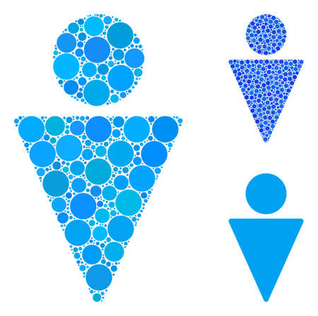 Man composition of circle elements in different sizes and shades, based on man icon. Vector circle elements are combined into blue collage. Dotted man icon in usual and blue versions. Archivio Fotografico - 133225743