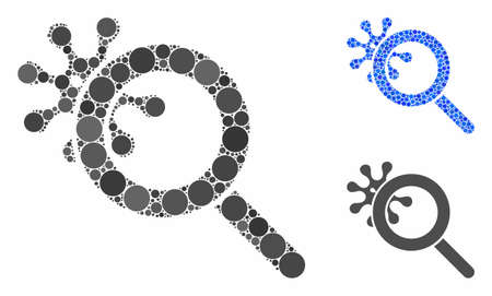 Explore virus mosaic of round dots in different sizes and color tinges, based on explore virus icon. Vector round dots are united into blue illustration.