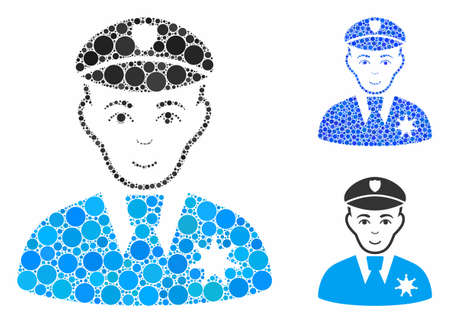 Sheriff mosaic of round dots in variable sizes and color tints, based on sheriff icon. Vector dots are composed into blue mosaic. Dotted sheriff icon in usual and blue versions.