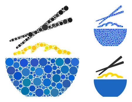 Rice porridge composition of filled circles in different sizes and color tinges, based on rice porridge icon. Vector filled circles are organized into blue composition.