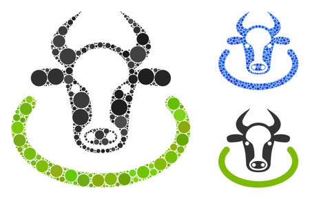 Cow area composition of small circles in variable sizes and shades, based on cow area icon. Vector random circles are grouped into blue mosaic. Dotted cow area icon in usual and blue versions.