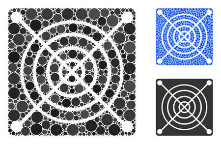 Mining ASIC hardware composition of circle elements in variable sizes and color tints, based on mining ASIC hardware icon. Vector circle elements are organized into blue mosaic. Stock Illustratie