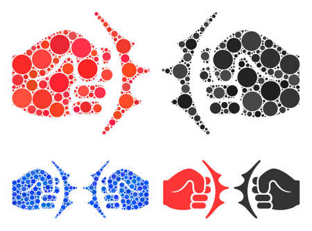 Fist fight composition of spheric dots in variable sizes and color tints, based on fist fight icon. Vector round dots are combined into blue composition. Stok Fotoğraf - 133251161