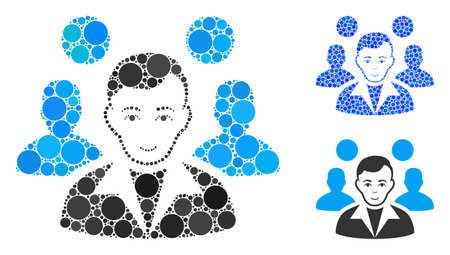 Staff leader mosaic of small circles in different sizes and color tones, based on staff leader icon. Vector filled circles are organized into blue mosaic. Ilustração