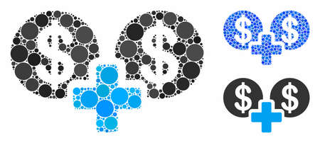 Sum money mosaic of filled circles in various sizes and shades, based on sum money icon. Vector filled circles are combined into blue collage. Dotted sum money icon in usual and blue versions.