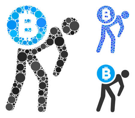 Bitcoin courier man composition of filled circles in variable sizes and shades, based on Bitcoin courier man icon. Vector filled circles are composed into blue composition.