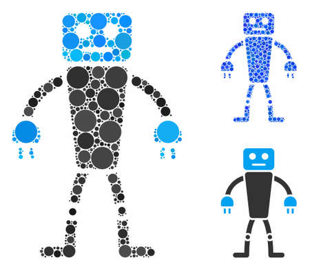 Robot composition of filled circles in variable sizes and color tinges, based on robot icon. Vector filled circles are composed into blue composition. Dotted robot icon in usual and blue versions.