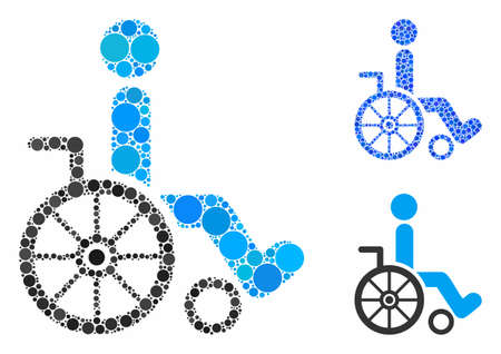 Wheelchair composition of round dots in variable sizes and color tones, based on wheelchair icon. Vector round dots are combined into blue collage. Dotted wheelchair icon in usual and blue versions.