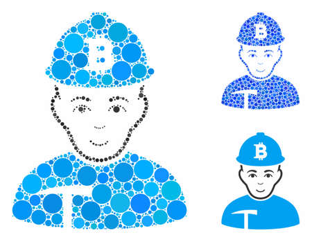 Bitcoin miner composition of small circles in variable sizes and color tints, based on Bitcoin miner icon. Vector small circles are organized into blue collage. Stock Illustratie
