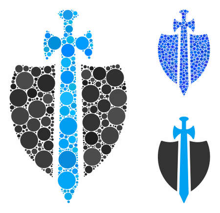 Guard composition of round dots in various sizes and shades, based on guard icon. Vector round dots are united into blue mosaic. Dotted guard icon in usual and blue versions.