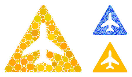 Airplane problem composition of round dots in different sizes and color hues, based on airplane problem icon. Vector round dots are composed into blue collage.