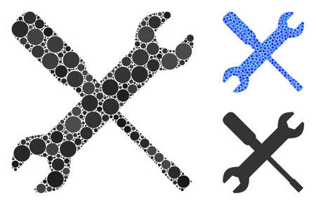 Wrench and screwdriver tools mosaic of round dots in various sizes and shades, based on wrench and screwdriver tools icon. Vector round elements are united into blue mosaic.