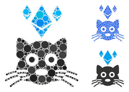 Ethereum crypto cat mosaic of spheric dots in different sizes and color tints, based on Ethereum crypto cat icon. Vector dots are united into blue mosaic.