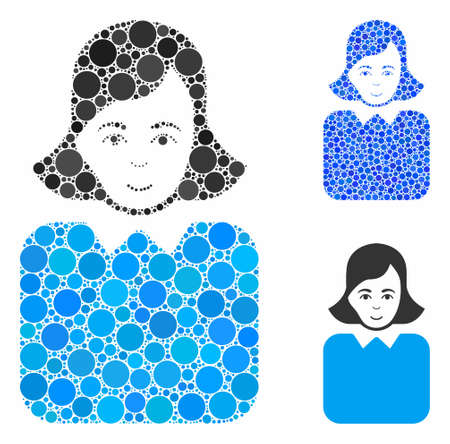 Bureaucrat woman mosaic of filled circles in various sizes and shades, based on bureaucrat woman icon. Vector filled circles are combined into blue mosaic.