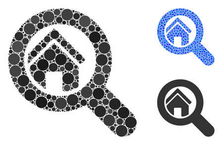 Search house composition of filled circles in variable sizes and color tinges, based on search house icon. Vector random circles are combined into blue mosaic. 일러스트