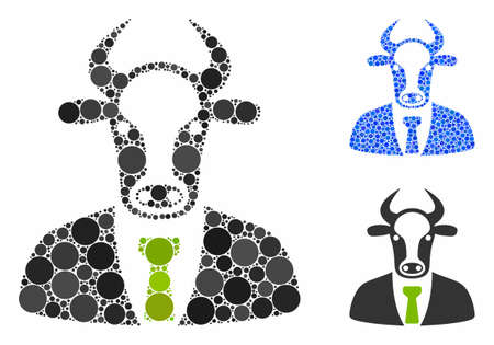 Bull boss mosaic of filled circles in different sizes and color tones, based on bull boss icon. Vector filled circles are combined into blue mosaic. Dotted bull boss icon in usual and blue versions.